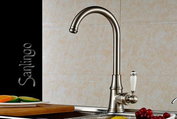 Küche Spülbecken Einhebel Armatur Keramik Griff Edelstahl Optik Sanlingo
