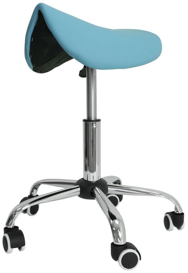 Kosmetik Arbeitshocker Massage Hocker Sattelform, höhenverstellbar, hellblau – Bild 1