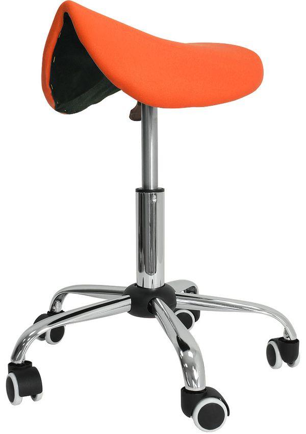 Kosmetik Arbeitshocker Massage Hocker Sattelform, höhenverstellbar, orange – Bild 1