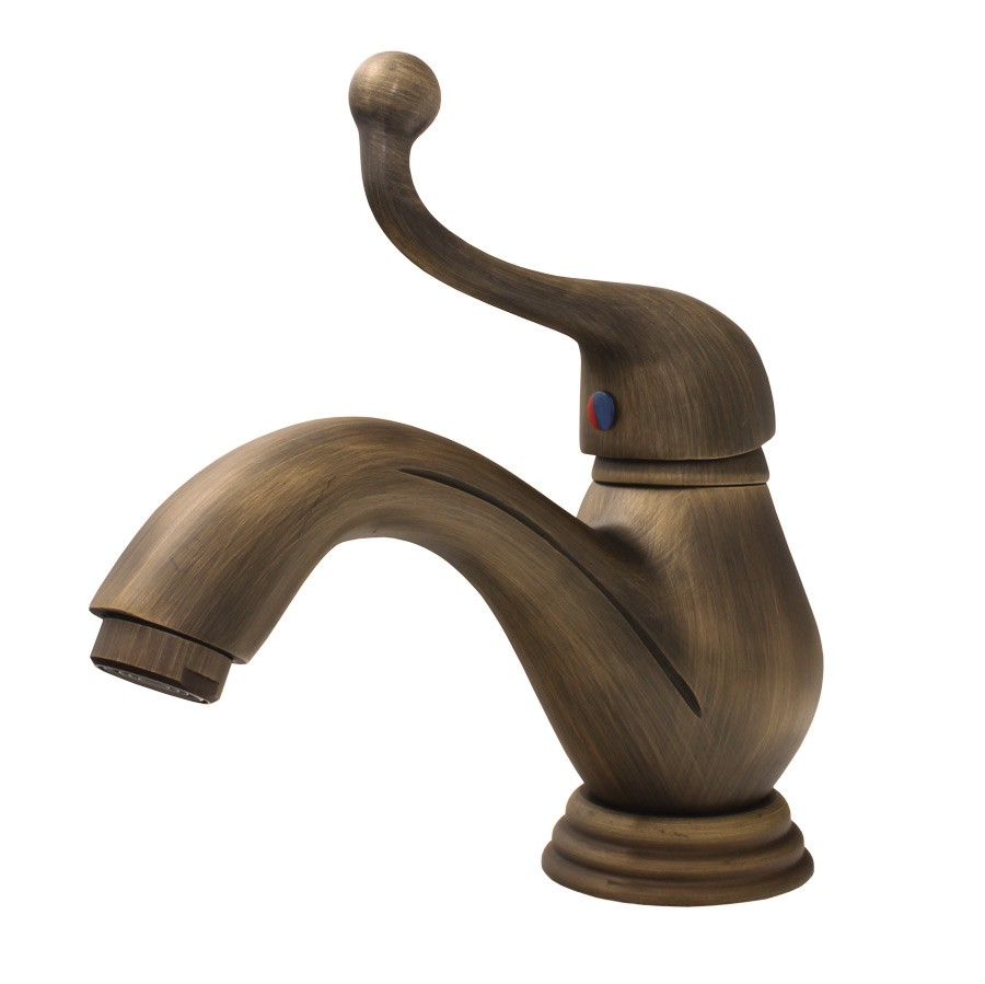 Retro Single Lever Bathroom Washbasin Tap Mixer Antique Brass