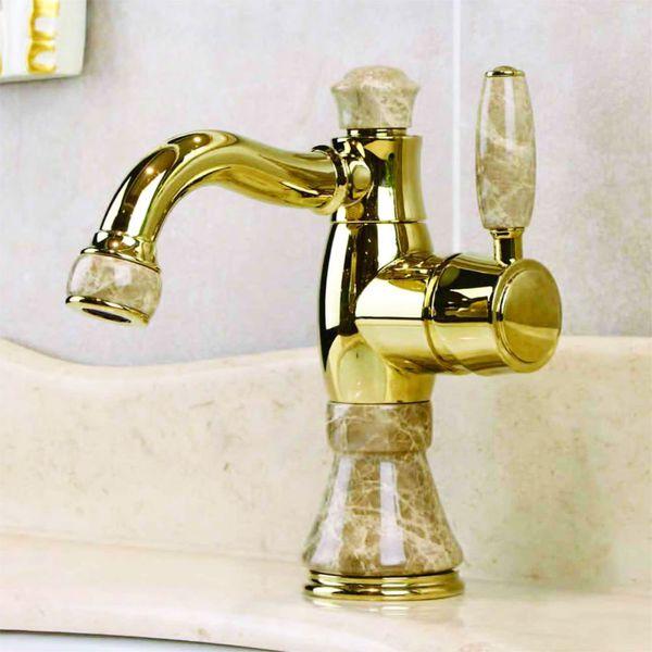 Bath Washbasin Wash Bowl Single Lever Water Tap Gold Marble Ecru Rotatable Sanlingo – Bild 1