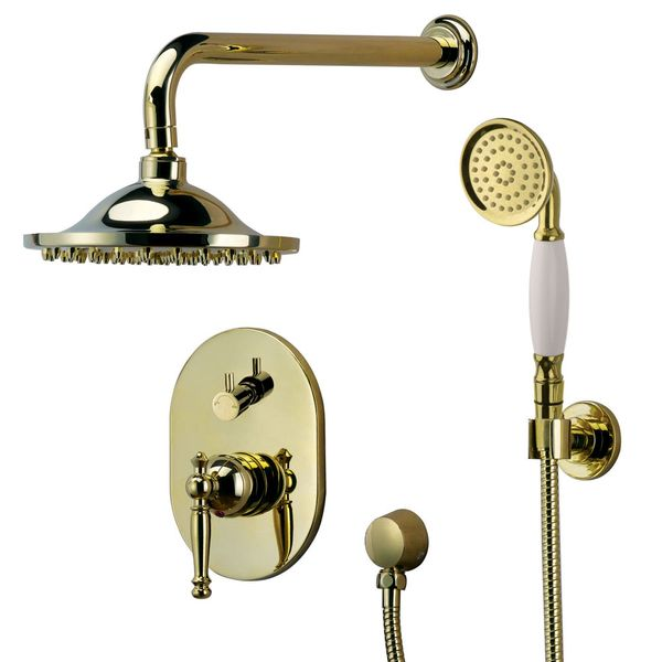 Retro Bath Concealed Complete Shower Set Tap Arm Rain Hand Gold Sanlingo – Bild 1