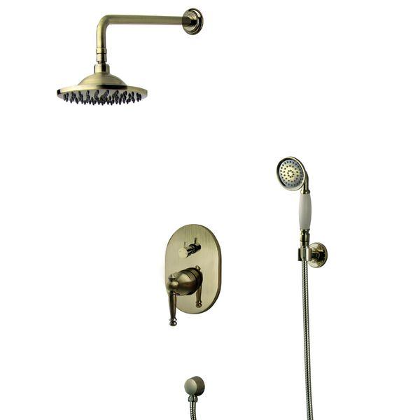 Nostalgie Retro Unterputz Dusche Set Duschset Armatur Kopfbrause Handbrause Antik Messing Sanlingo