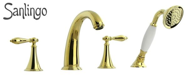 Retro Nostalgia Bath Bathtub 4 Hole Tap Sanlingo Gold Ceramic Handle Sanlingo – Bild 1