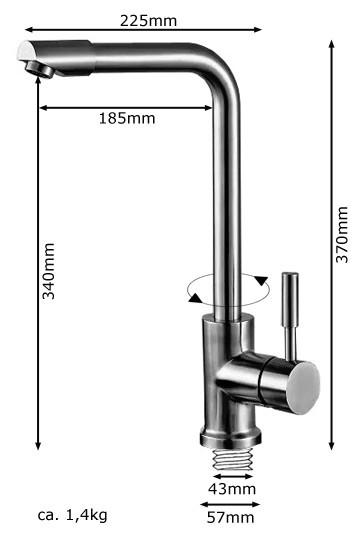 Modern Rotatable Kitchen Sink Tap Single Lever Massive Stainless Steel Sanlingo – Bild 4