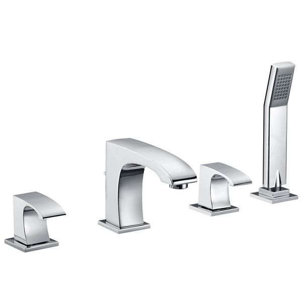 Modern Design 4 Hole Water Tap Bathtub Hand Shower Chrome Sanlingo  – Bild 1