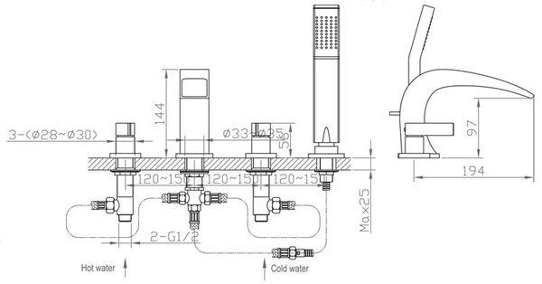Design Moderno Vasca da Bagno Rubinetto 4 Buco Doccetta Cromo Sanlingo Serie TORA – Bild 2