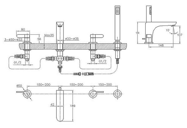 Design Moderno Vasca da Bagno Rubinetto 4 Buco Doccetta Cromo Sanlingo Serie KATA – Bild 2