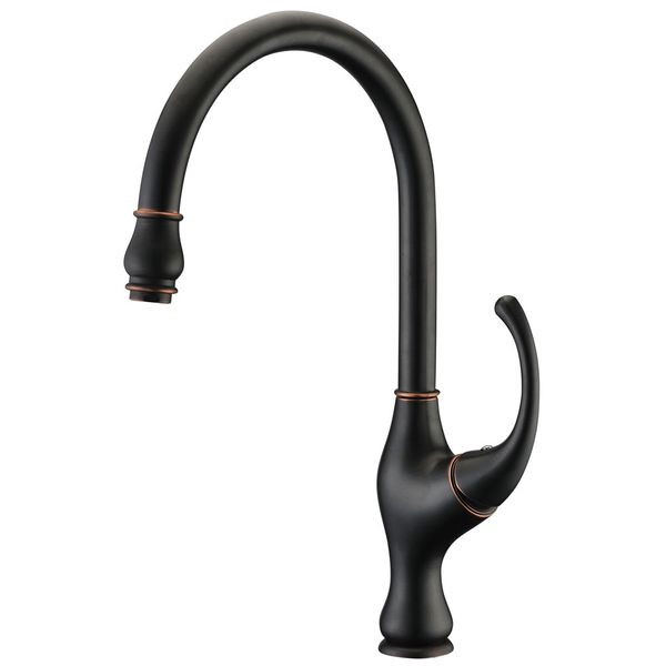 Retro Kitchen Single Lever Tap Mixer Black Browned Rotatable Sanlingo – Bild 1