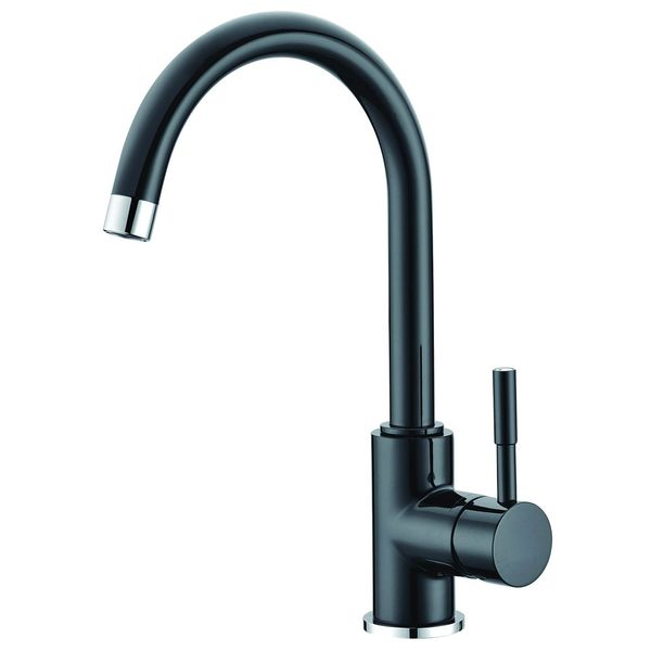 Design Kitchen Single lever Tap Black Chrome Rotatable Sanlingo – Bild 1