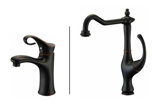 Design Style Bathroom Single lever Tap Basin Mixer Black Browned Sanlingo BRON – Bild 4