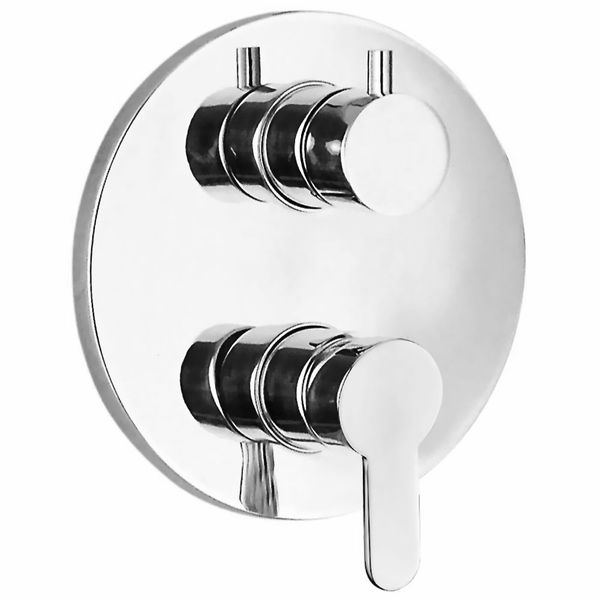 Concealed flush-mounting 4 Way Diverter Tap Bath Shower Bathtub Chrome Round Sanlingo – Bild 1