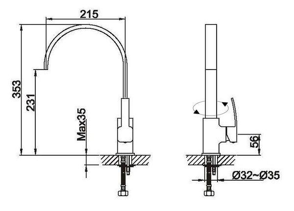 Design Modern Kitchen Sink Water Tap Single Lever Chrome Sanlingo TESSI Series – Bild 2