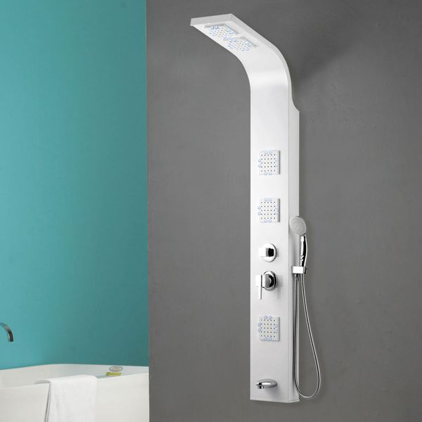 LED Aluminium Shower Column Shower Panel Rain shower Massage Glossy White Bathtub Spout Sanlingo – Bild 3