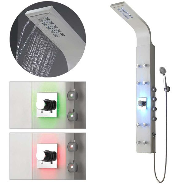 LED Aluminium Shower Column Shower Panel Rain shower Massage Glossy White Waterfall Sanlingo – Bild 1