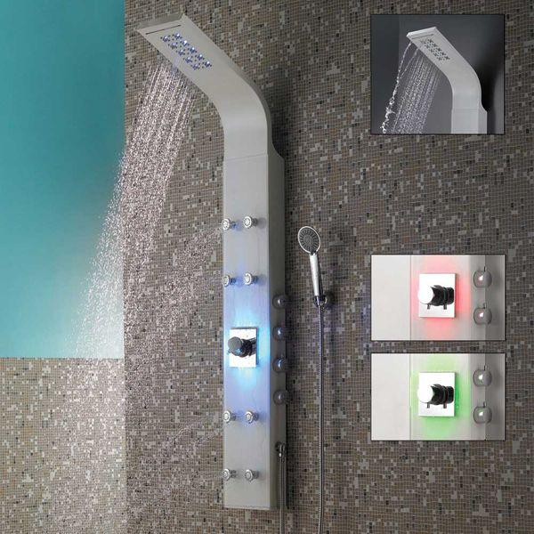 LED Aluminium Duschpaneel Duschsäule Regendusche Massage Weiss Weiß Glanz Wasserfall Sanlingo – Bild 3