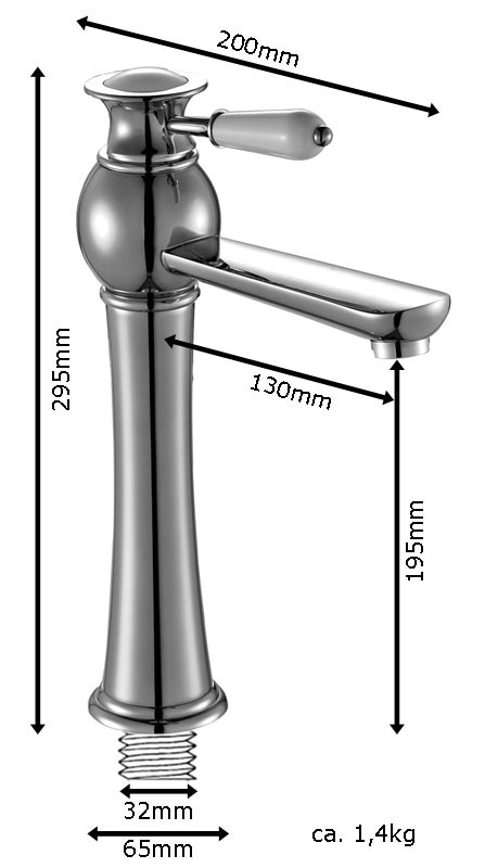 AIKO Series Retro Bath Bathroom Washbasin Washstand Washbowl Single Lever Water Tap Chrome Sanlingo – Bild 3