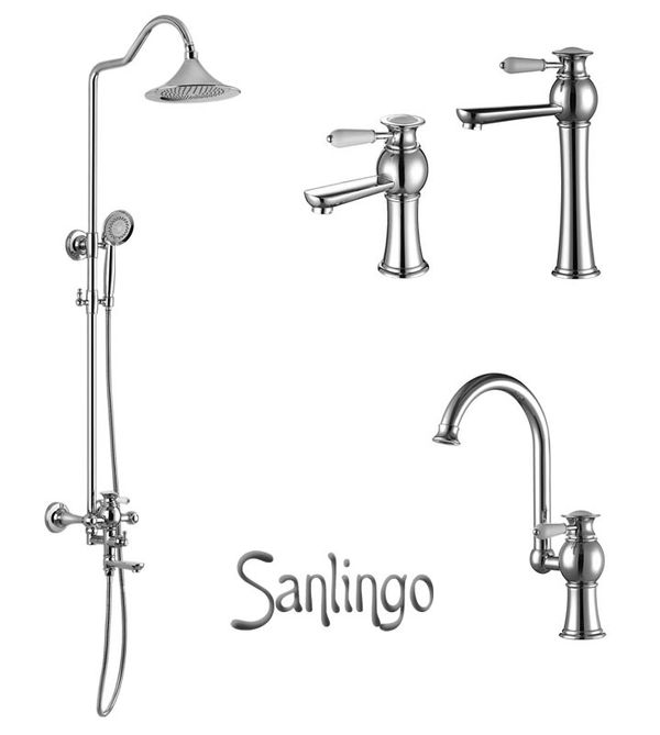 AIKO Series Retro Bath Bathroom Washbasin Washstand Washbowl Single Lever Water Tap Chrome Sanlingo – Bild 4