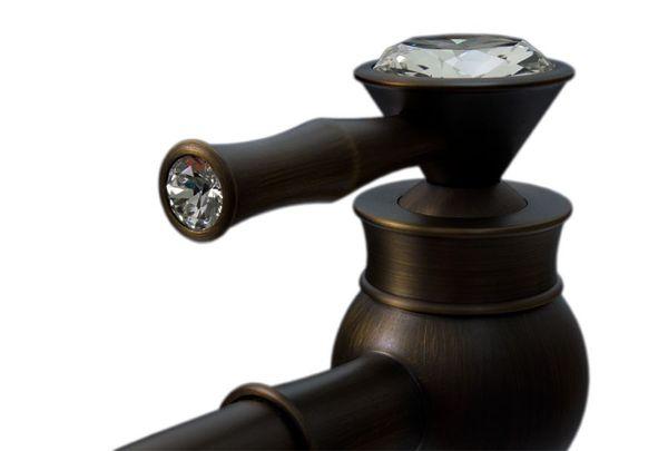 Retro Bad Einhebel Armatur hoch Wasserhahn Kristall Griff Glasknauf Antik Messing Sanlingo – Bild 2