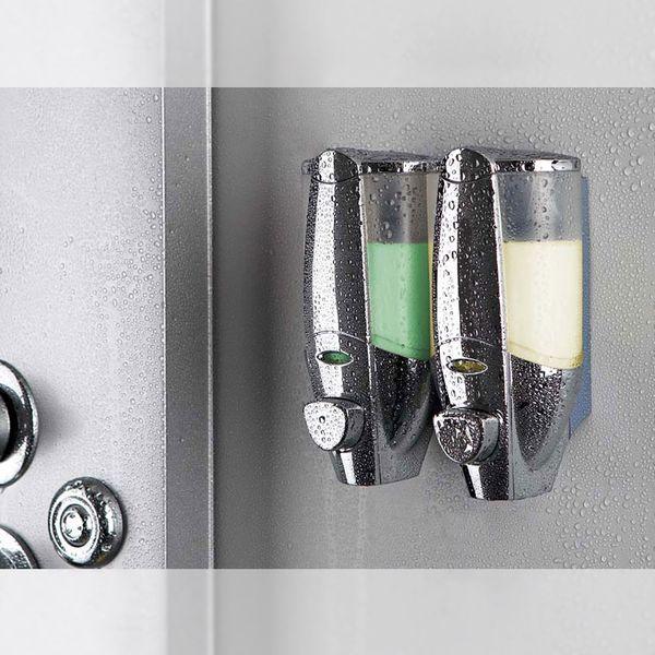 Doppia Dispenser di Sapone Bagno Doccia Montaggio a parete Cromo Sanlingo – Bild 1