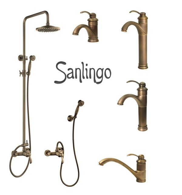Retro Bath Shower Set Single Lever Water Tap Hand Shower Antique Brass Sanlingo TILO – Bild 2