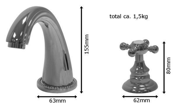 Design 3 Loch Armatur Waschtisch Waschbecken Badewanne Sanlingo Gold – Bild 2