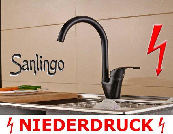 Sanlingo Niederdruck Design Küchen Armatur Spülbecken Schwenkbar Schwarz