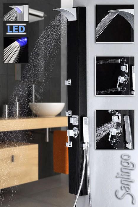 Black Stainless Steel LED Shower Panel Massage Jets Waterfall Specular Sanlingo – Bild 1
