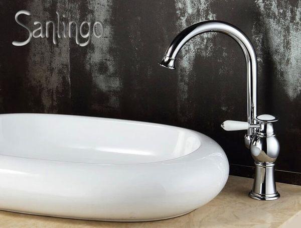Serie AIKO Retro Bad Waschbecken Waschtisch Einhebel Armatur Wasserhahn Schwenkbar Chrom Sanlingo  – Bild 1