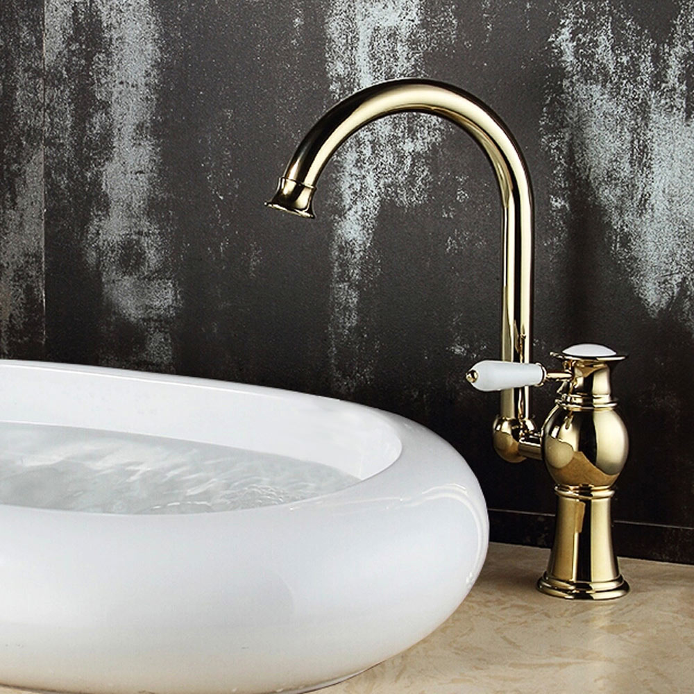 Evan Series Retro Bath Bathroom Washbasin Washstand Single Lever Water Tap Rotatable Gold Sanlingo