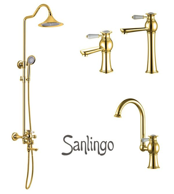 EVAN Series Retro Bath Bathroom Washbasin Washstand Single Lever Water Tap Rotatable Gold Sanlingo – Bild 4