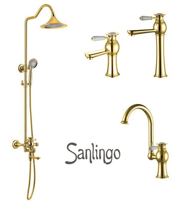 EVAN Series Retro Kitchen Sink Single Lever Water Tap Rotatable Gold Sanlingo – Bild 4