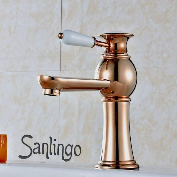 Serie KOBA Retro Bad Waschbecken Waschtisch Einhebel Armatur Wasserhahn Rosé Rot Gold Sanlingo