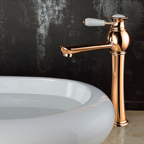 KOBA Series Retro Bath Bathroom Washbasin Washstand Washbowl Single Lever Water Tap Rose Red Gold Sanlingo – Bild 2