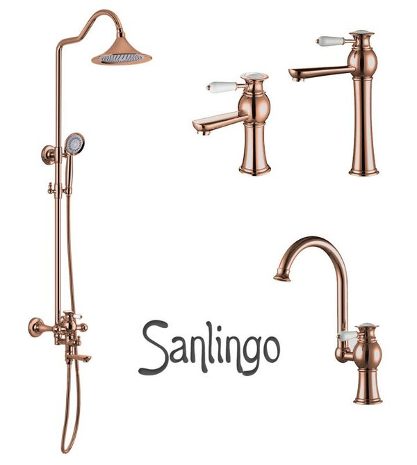 KOBA Series Retro Bath Bathroom Washbasin Washstand Washbowl Single Lever Water Tap Rose Red Gold Sanlingo – Bild 4