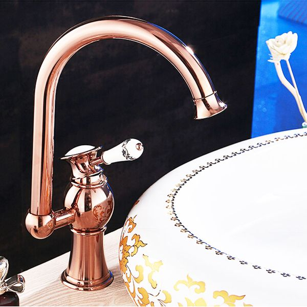 KOBA Series Retro Bath Bathroom Washbasin Washstand Single Lever Water Tap Rotatable Rose Red Gold Sanlingo – Bild 1