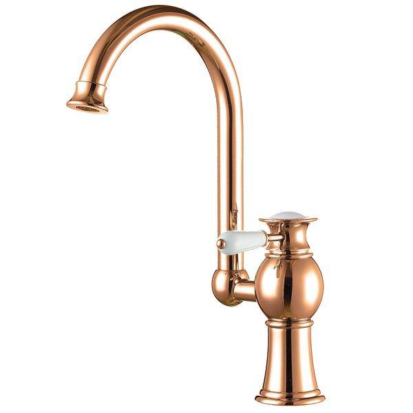 KOBA Series Retro Bath Bathroom Washbasin Washstand Single Lever Water Tap Rotatable Rose Red Gold Sanlingo – Bild 2