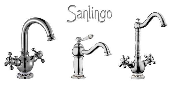 Retro Küche Spülbecken Spültisch Zweigriff Kreuzgriff Armatur Wasserhahn Chrom Sanlingo Schwenkbar Serie RODA – Bild 3