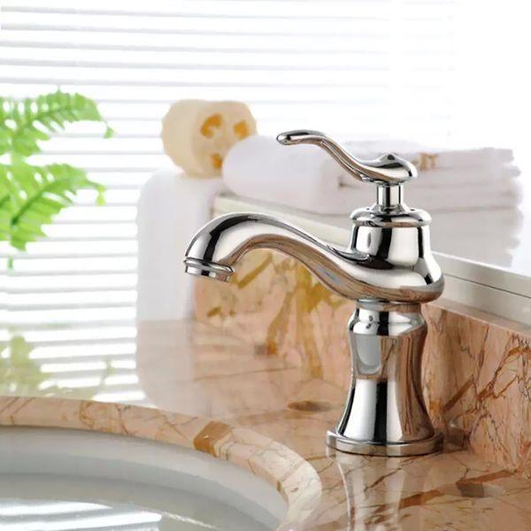 Retro Bad Waschtisch Waschbecken Einhebel Armatur Wasserhahn Chrom Sanlingo  – Bild 2