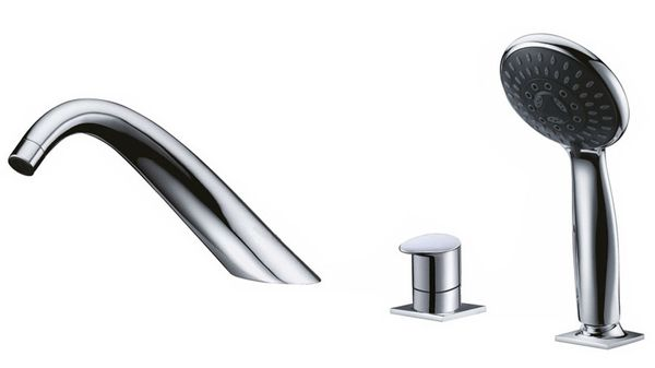 Design 3 Hole Faucet Tap with Hand Shower for Bathtub Chrome Sanlingo ISEO – Bild 1