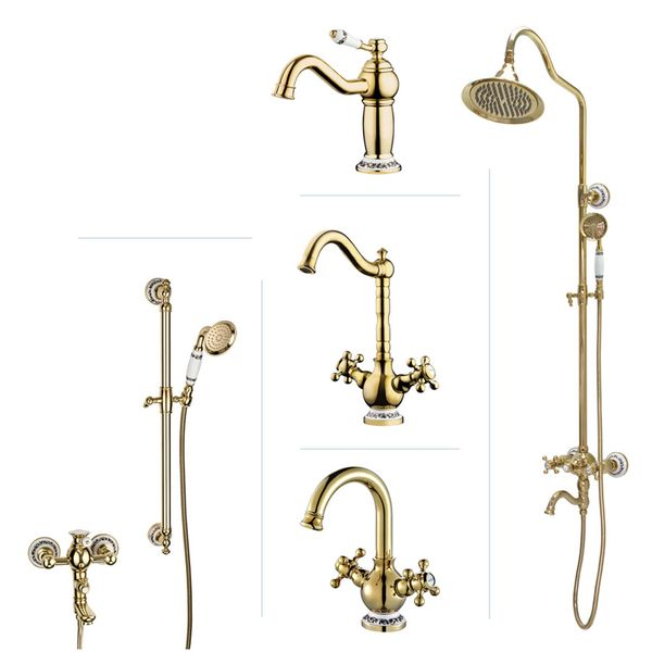BELE Series Retro Bath Bathroom Washbasin Washstand Washbowl Single Lever Water Tap Gold Sanlingo – Bild 1