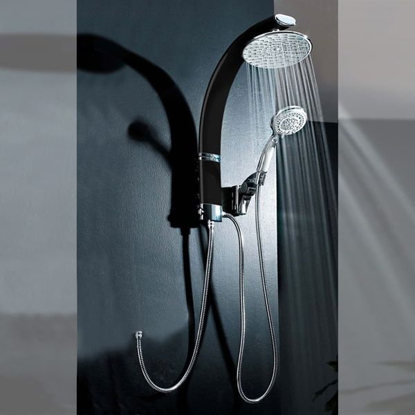 Aluminium Shower Panel Set Rain Handshower Bath Black Chrome Sanlingo – Bild 1