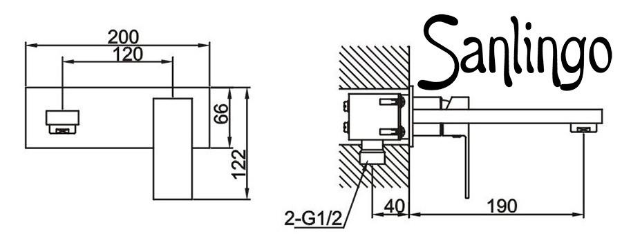 Design Unterputz Chrom 2 Loch Waschtisch Armatur massiv eckig ...