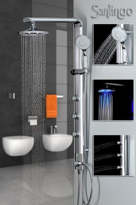 Aluminium LED Duschpaneel Duschsäule Duschset Massage Düsen in Silber von Sanlingo – Bild 1