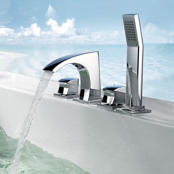 Design 4 Hole Faucet Tap Bathtub with Hand Shower Sanlingo GALATINA – Bild 1
