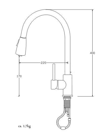 Design Küchen Armatur Ausziehbar Einhebel Wasserhahn 2 Strahlarten Chrom Spülbecken Küche Sanlingo – Bild 2