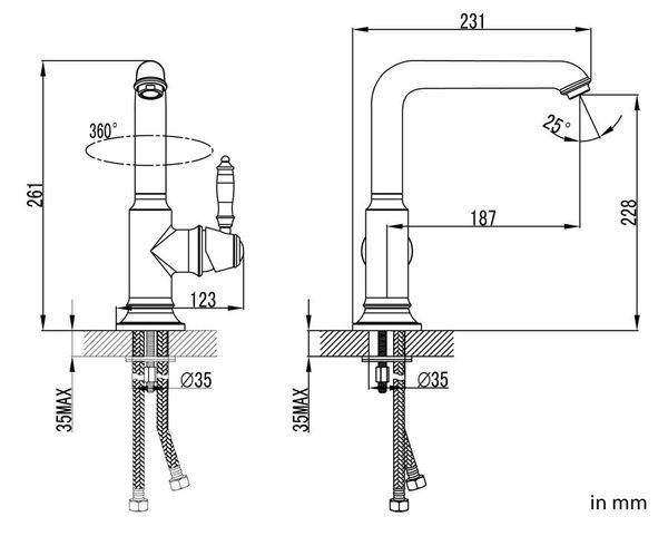 Extraordinary Kitchen Sink Single Lever Water Tap Chrome Sanlingo Swivel Spout SINA Series  – Bild 3