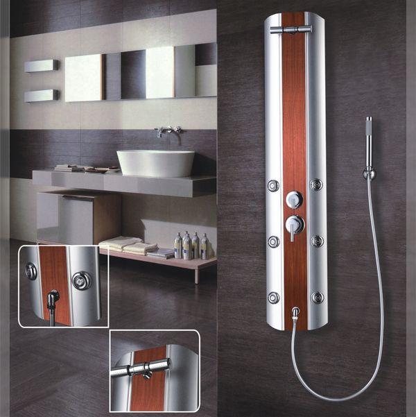 Aluminium Colonna Doccia a Pioggia Massaggio Argento Aspetto Legno Sanlingo – Bild 2