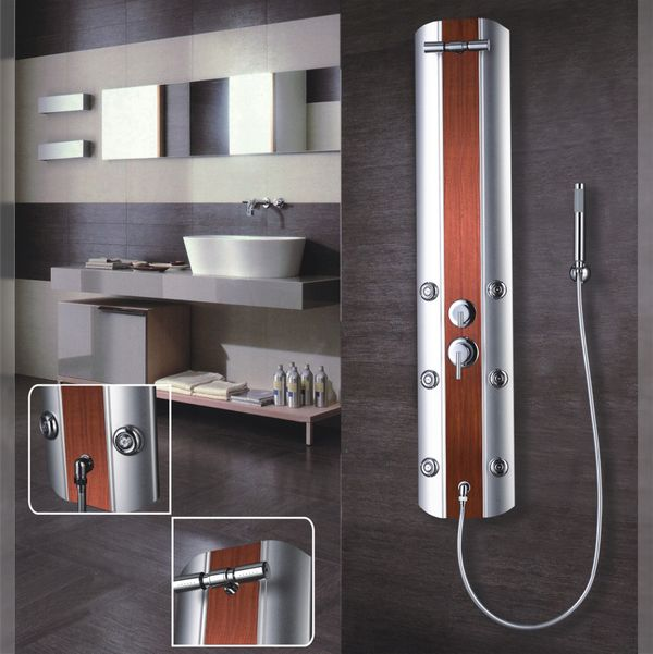 Duschpaneel Duschsäule Aluminium Massagedüsen Regendusche Holzoptik Silber Sanlingo – Bild 2