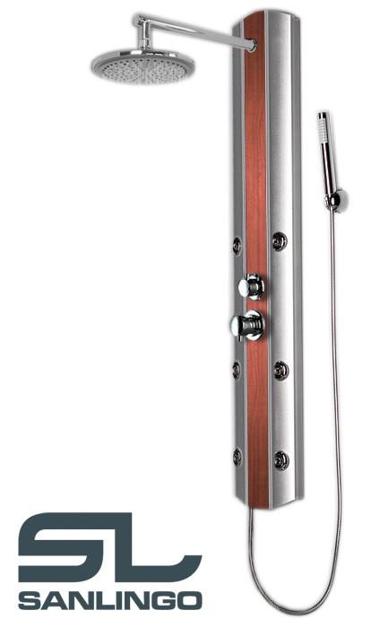 Duschpaneel Duschsäule Aluminium Massagedüsen Regendusche Silber Holzoptik Sanlingo – Bild 1